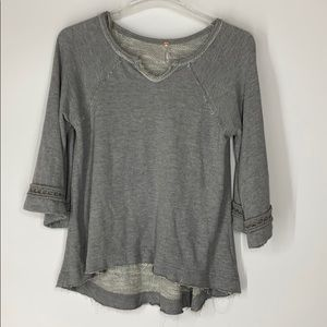 Free people gray oversized terry frayed top XS